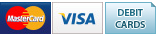We accept Mastercard, Visa and Debit Cards.
